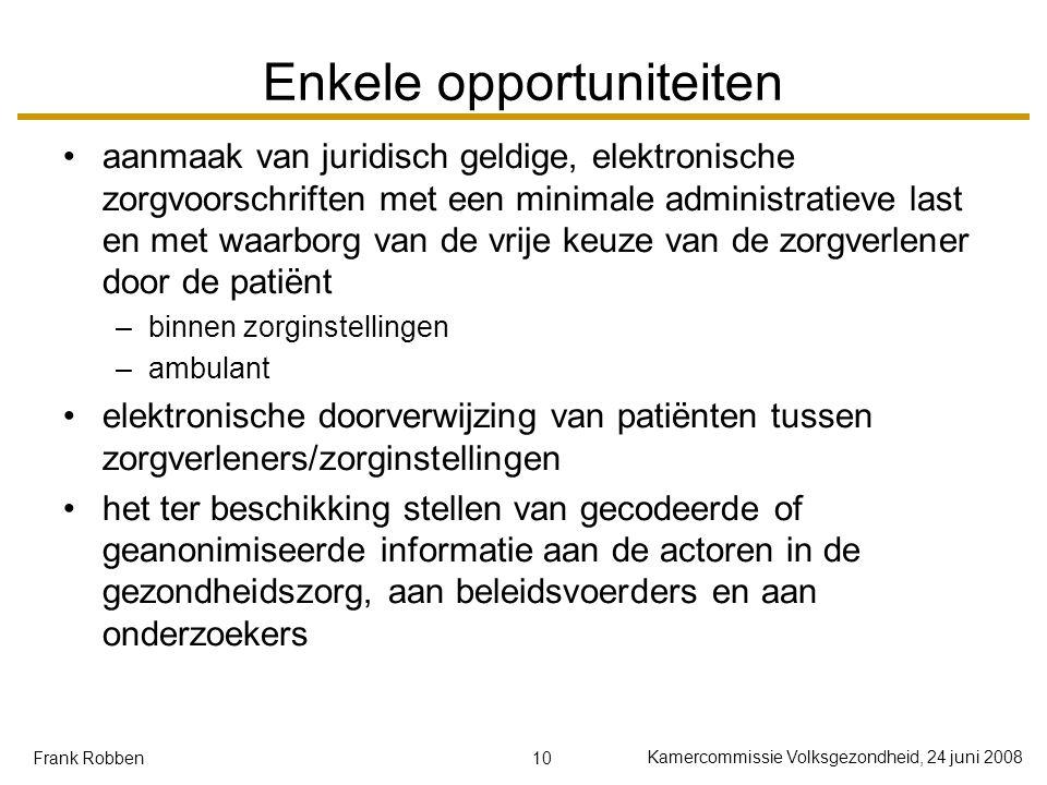 10 Kamercommissie Volksgezondheid, 24 juni 2008 Frank Robben Enkele opportuniteiten aanmaak van juridisch geldige, elektronische zorgvoorschriften met