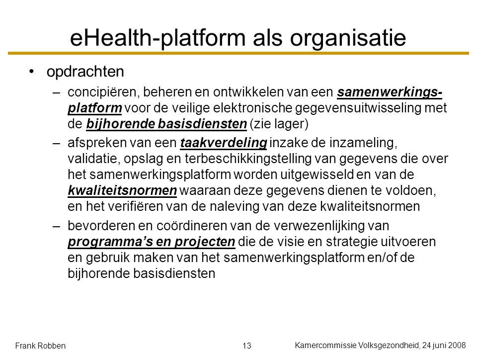 13 Kamercommissie Volksgezondheid, 24 juni 2008 Frank Robben eHealth-platform als organisatie opdrachten –concipiëren, beheren en ontwikkelen van een