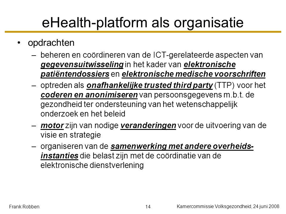 14 Kamercommissie Volksgezondheid, 24 juni 2008 Frank Robben eHealth-platform als organisatie opdrachten –beheren en coördineren van de ICT-gerelateer