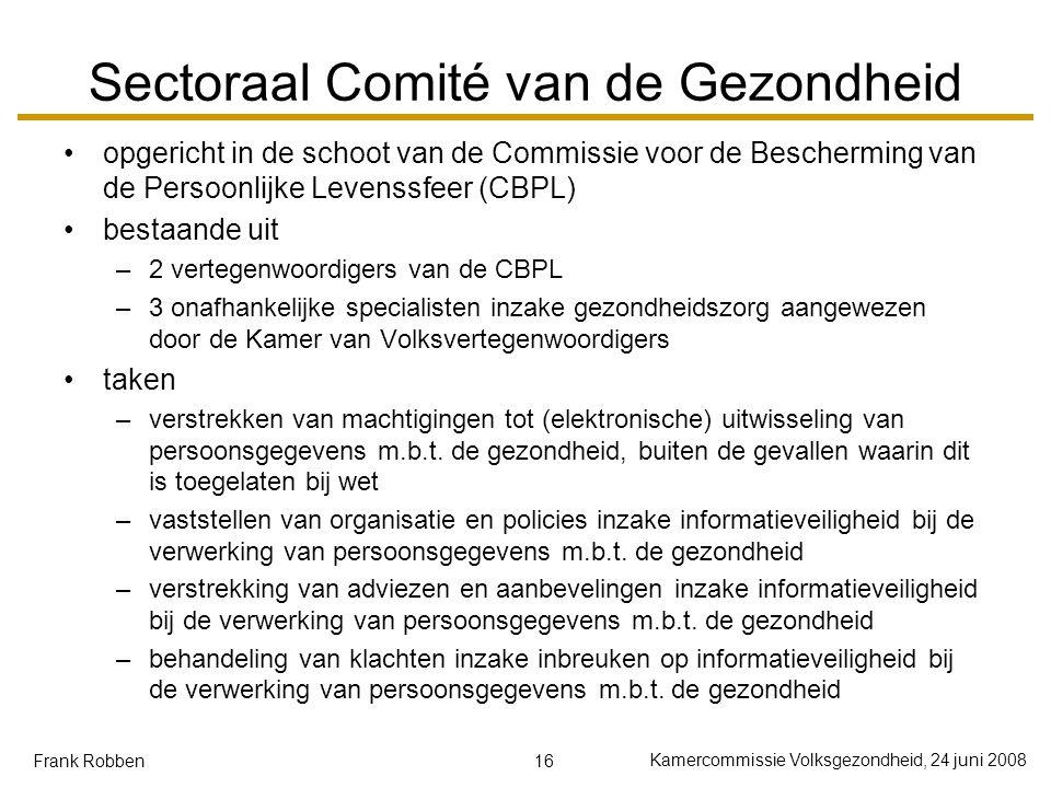 16 Kamercommissie Volksgezondheid, 24 juni 2008 Frank Robben Sectoraal Comité van de Gezondheid opgericht in de schoot van de Commissie voor de Besche