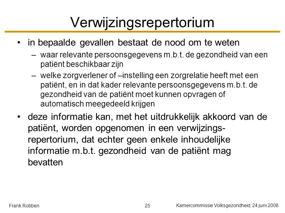 25 Kamercommissie Volksgezondheid, 24 juni 2008 Frank Robben Verwijzingsrepertorium in bepaalde gevallen bestaat de nood om te weten –waar relevante persoonsgegevens m.b.t.