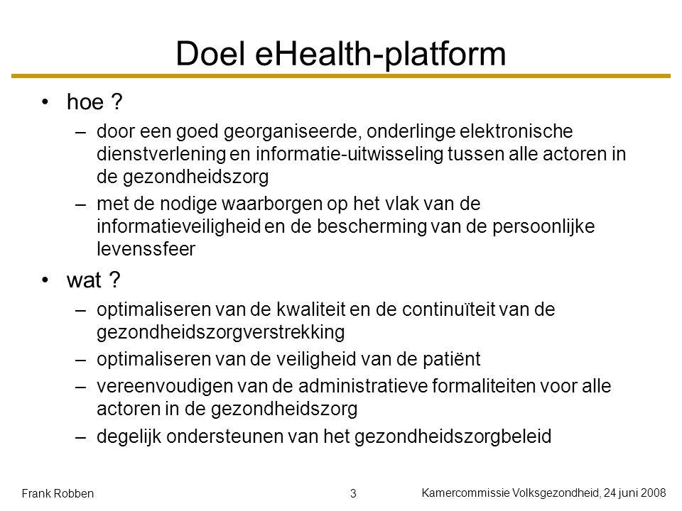 3 Kamercommissie Volksgezondheid, 24 juni 2008 Frank Robben Doel eHealth-platform hoe ? –door een goed georganiseerde, onderlinge elektronische dienst