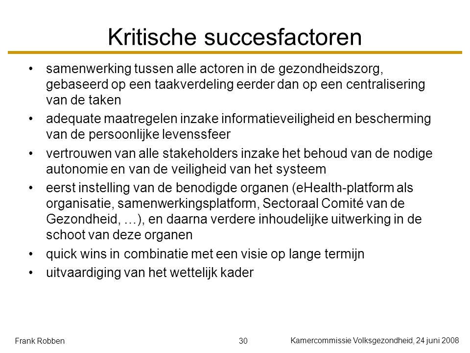 30 Kamercommissie Volksgezondheid, 24 juni 2008 Frank Robben Kritische succesfactoren samenwerking tussen alle actoren in de gezondheidszorg, gebaseer