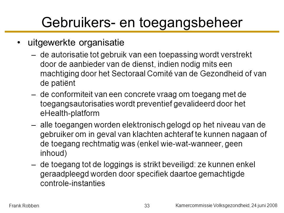 33 Kamercommissie Volksgezondheid, 24 juni 2008 Frank Robben Gebruikers- en toegangsbeheer uitgewerkte organisatie –de autorisatie tot gebruik van een