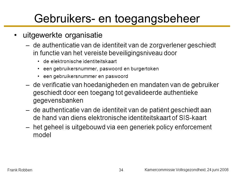 34 Kamercommissie Volksgezondheid, 24 juni 2008 Frank Robben Gebruikers- en toegangsbeheer uitgewerkte organisatie –de authenticatie van de identiteit