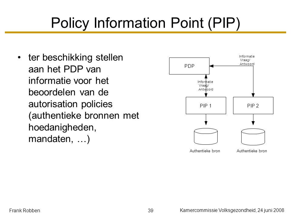 39 Kamercommissie Volksgezondheid, 24 juni 2008 Frank Robben Policy Information Point (PIP) ter beschikking stellen aan het PDP van informatie voor he