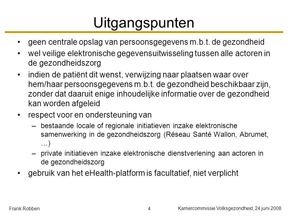 5 Kamercommissie Volksgezondheid, 24 juni 2008 Frank Robben Uitgangspunten bijzondere aandacht voor informatieveiligheid en bescherming van de persoonlijke levenssfeer, o.a.