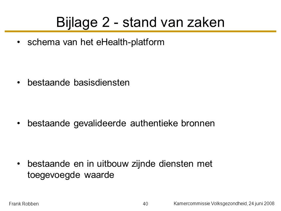 40 Kamercommissie Volksgezondheid, 24 juni 2008 Frank Robben Bijlage 2 - stand van zaken schema van het eHealth-platform bestaande basisdiensten besta