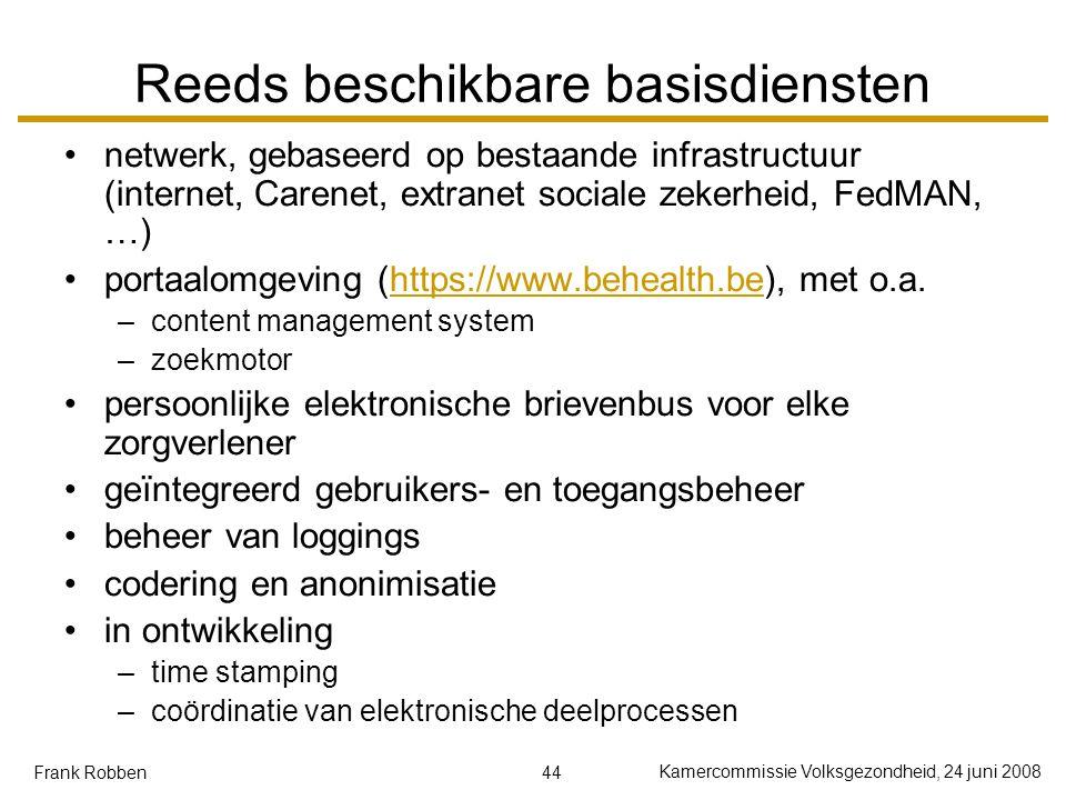 44 Kamercommissie Volksgezondheid, 24 juni 2008 Frank Robben Reeds beschikbare basisdiensten netwerk, gebaseerd op bestaande infrastructuur (internet, Carenet, extranet sociale zekerheid, FedMAN, …) portaalomgeving (https://www.behealth.be), met o.a.https://www.behealth.be –content management system –zoekmotor persoonlijke elektronische brievenbus voor elke zorgverlener geïntegreerd gebruikers- en toegangsbeheer beheer van loggings codering en anonimisatie in ontwikkeling –time stamping –coördinatie van elektronische deelprocessen