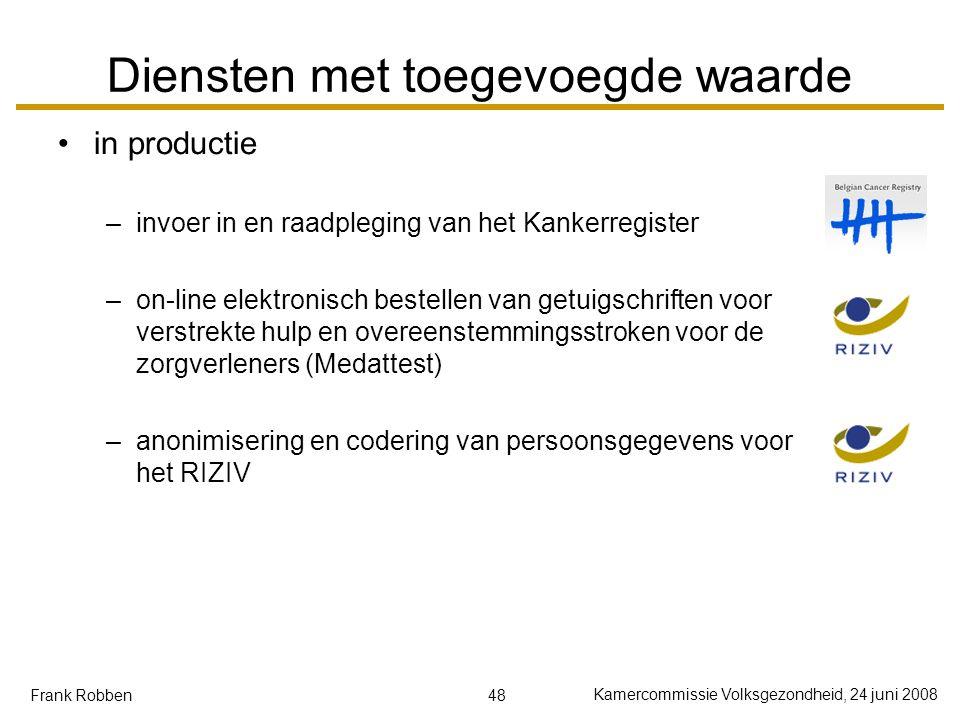 48 Kamercommissie Volksgezondheid, 24 juni 2008 Frank Robben Diensten met toegevoegde waarde in productie –invoer in en raadpleging van het Kankerregi