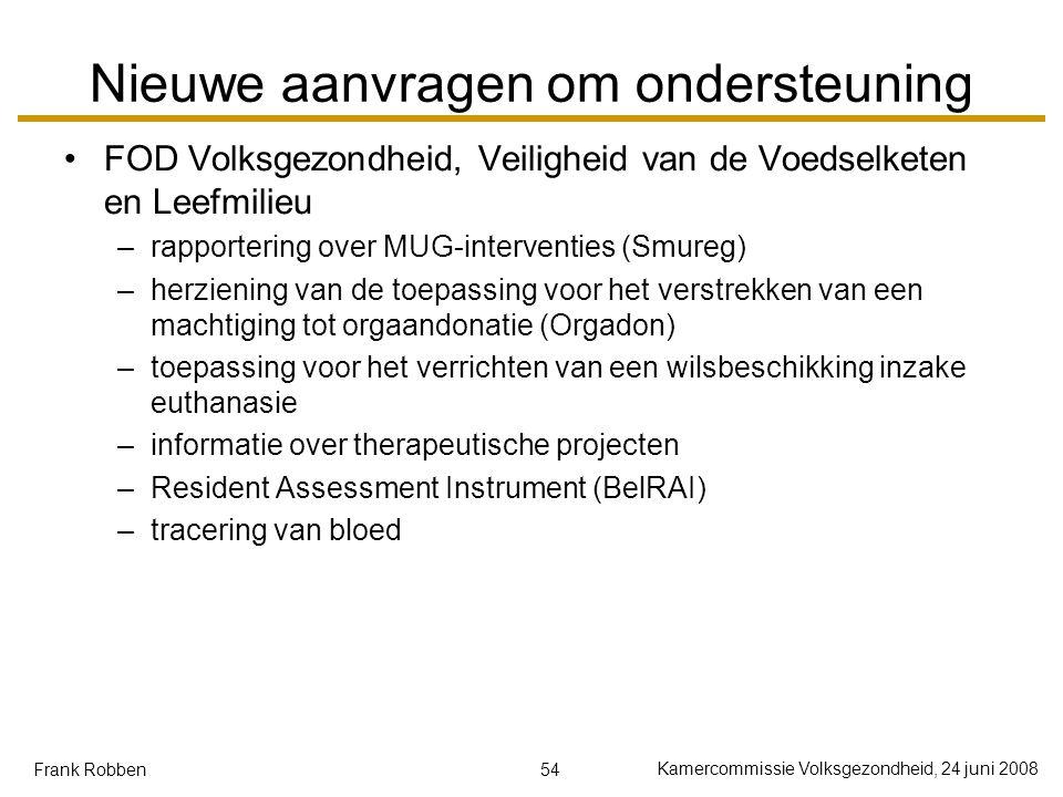 54 Kamercommissie Volksgezondheid, 24 juni 2008 Frank Robben Nieuwe aanvragen om ondersteuning FOD Volksgezondheid, Veiligheid van de Voedselketen en Leefmilieu –rapportering over MUG-interventies (Smureg) –herziening van de toepassing voor het verstrekken van een machtiging tot orgaandonatie (Orgadon) –toepassing voor het verrichten van een wilsbeschikking inzake euthanasie –informatie over therapeutische projecten –Resident Assessment Instrument (BelRAI) –tracering van bloed