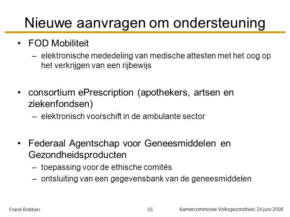 55 Kamercommissie Volksgezondheid, 24 juni 2008 Frank Robben Nieuwe aanvragen om ondersteuning FOD Mobiliteit –elektronische mededeling van medische a