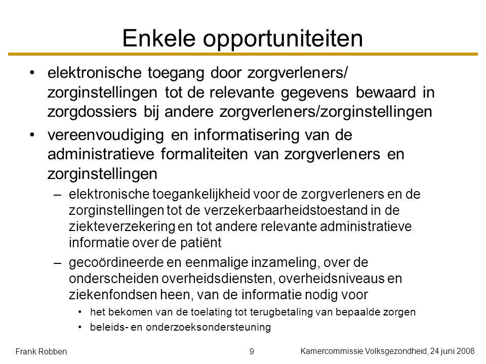 9 Kamercommissie Volksgezondheid, 24 juni 2008 Frank Robben Enkele opportuniteiten elektronische toegang door zorgverleners/ zorginstellingen tot de r