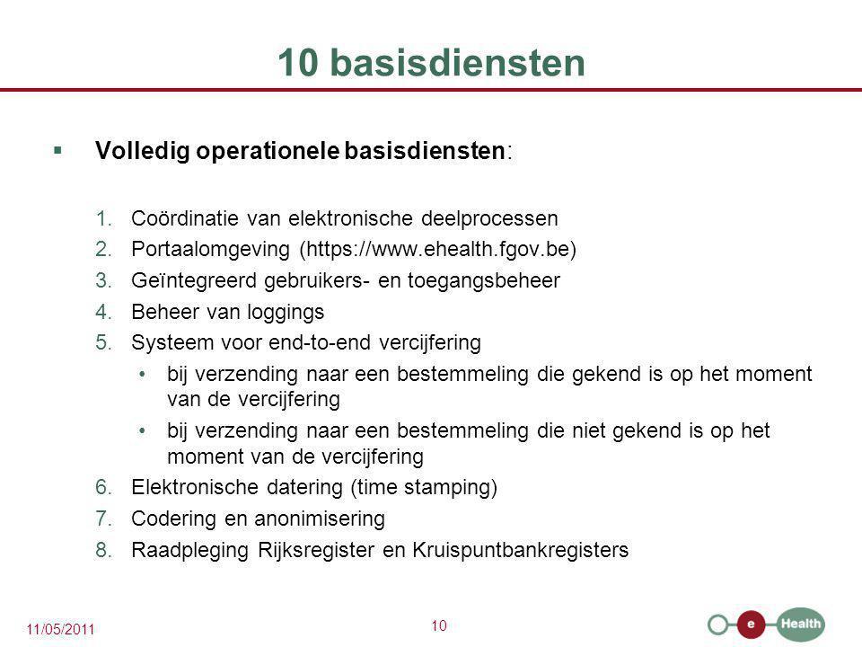 10 11/05/2011 10 basisdiensten  Volledig operationele basisdiensten: 1.Coördinatie van elektronische deelprocessen 2.Portaalomgeving (https://www.ehe