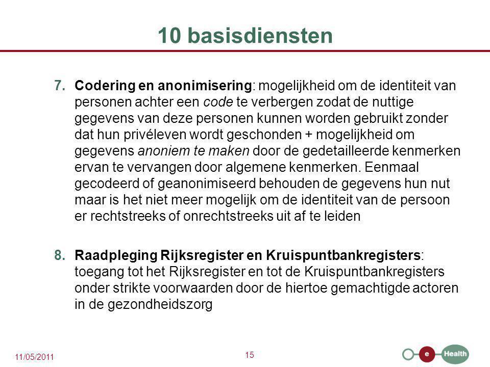 15 11/05/2011 10 basisdiensten 7.Codering en anonimisering: mogelijkheid om de identiteit van personen achter een code te verbergen zodat de nuttige g