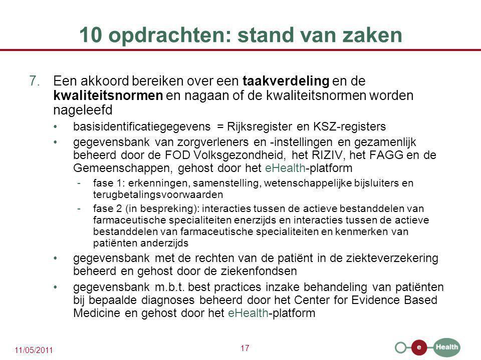 17 11/05/2011 10 opdrachten: stand van zaken 7.Een akkoord bereiken over een taakverdeling en de kwaliteitsnormen en nagaan of de kwaliteitsnormen wor