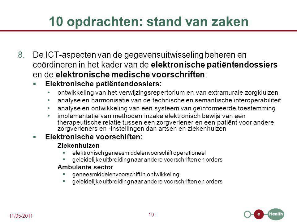 19 11/05/2011 10 opdrachten: stand van zaken 8.De ICT-aspecten van de gegevensuitwisseling beheren en coördineren in het kader van de elektronische pa