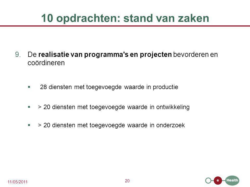 20 11/05/2011 10 opdrachten: stand van zaken 9.De realisatie van programma's en projecten bevorderen en coördineren  28 diensten met toegevoegde waar