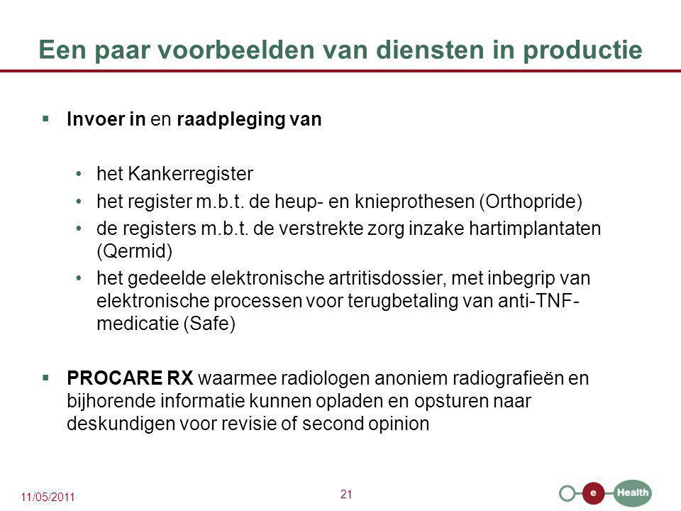 21 11/05/2011 Een paar voorbeelden van diensten in productie  Invoer in en raadpleging van het Kankerregister het register m.b.t. de heup- en kniepro