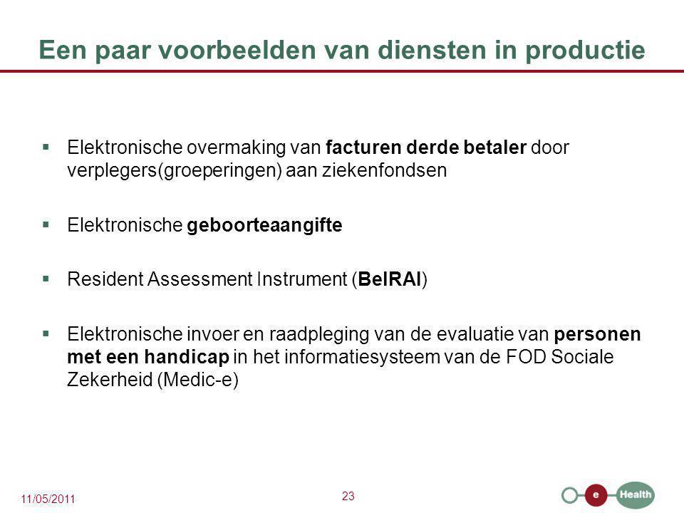 23 11/05/2011 Een paar voorbeelden van diensten in productie  Elektronische overmaking van facturen derde betaler door verplegers(groeperingen) aan z