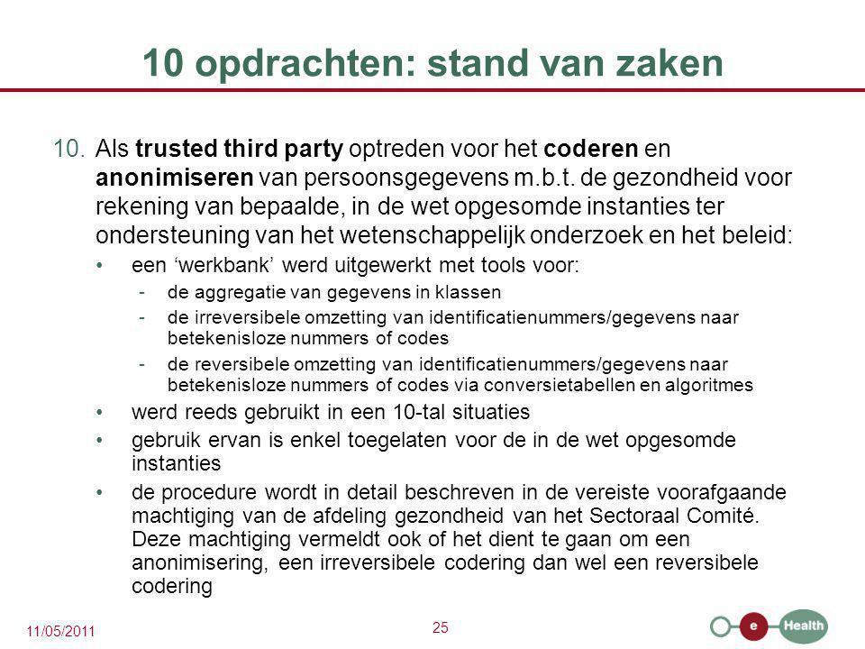 25 11/05/2011 10 opdrachten: stand van zaken 10.Als trusted third party optreden voor het coderen en anonimiseren van persoonsgegevens m.b.t. de gezon