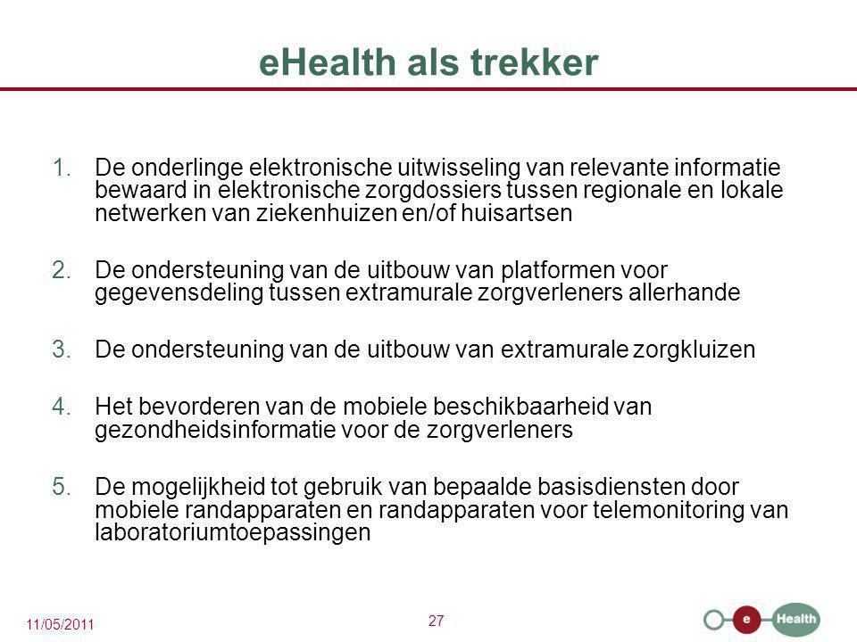 27 11/05/2011 eHealth als trekker 1.De onderlinge elektronische uitwisseling van relevante informatie bewaard in elektronische zorgdossiers tussen reg