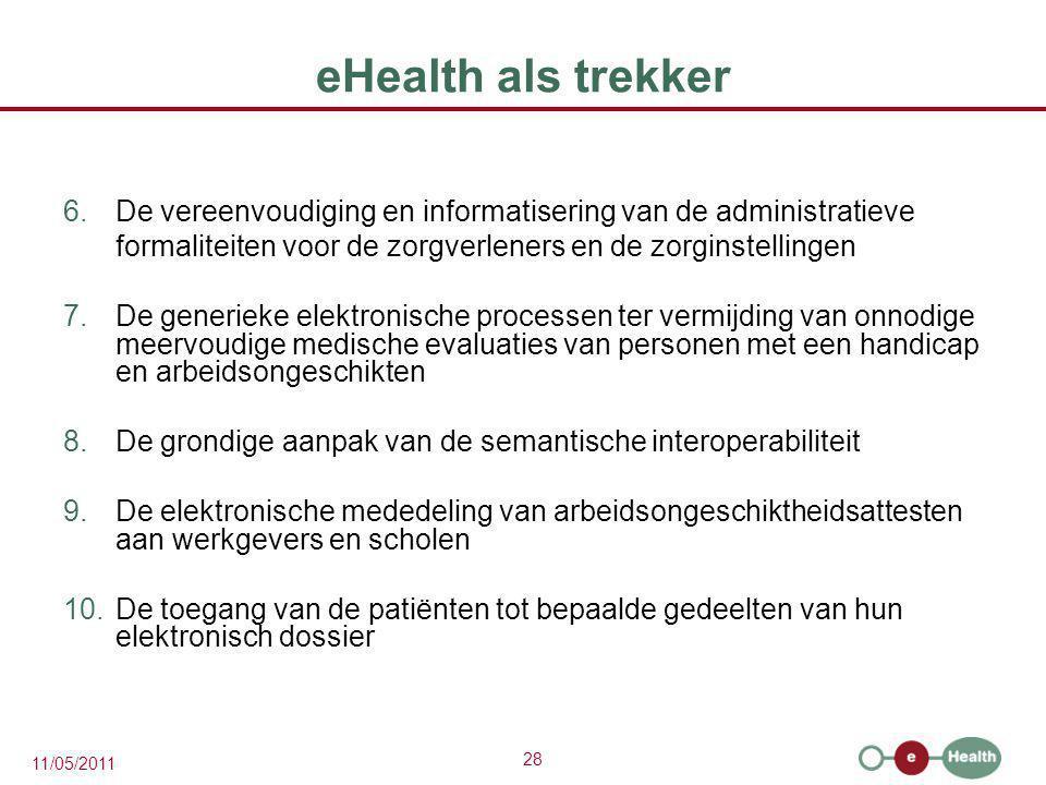 28 11/05/2011 eHealth als trekker 6.De vereenvoudiging en informatisering van de administratieve formaliteiten voor de zorgverleners en de zorginstell