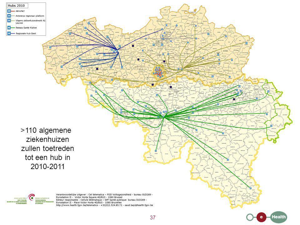 37 >110 algemene ziekenhuizen zullen toetreden tot een hub in 2010-2011