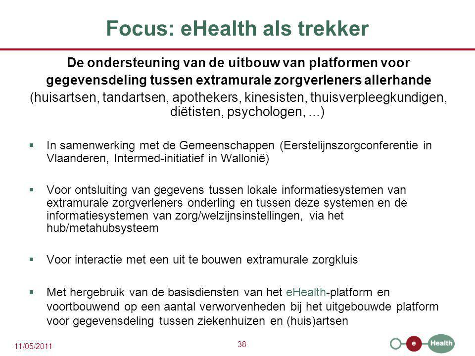 38 11/05/2011 Focus: eHealth als trekker De ondersteuning van de uitbouw van platformen voor gegevensdeling tussen extramurale zorgverleners allerhand