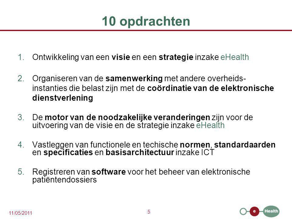 6 11/05/2011 10 opdrachten 6.Concipiëren, uitwerken en beheren van een samenwerkingsplatform voor de veilige elektronische gegevensuitwisseling met de bijhorende basisdiensten 7.Een akkoord bereiken over een taakverdeling en de kwaliteitsnormen en nagaan of de kwaliteitsnormen worden nageleefd 8.De ICT-aspecten van de gegevensuitwisseling beheren en coördineren in het kader van de elektronische patiëntendossiers en de elektronische medische voorschriften 9.De realisatie van programma s en projecten bevorderen en coördineren 10.Als trusted third party optreden voor het coderen en anonimiseren van persoonsgegevens m.b.t.