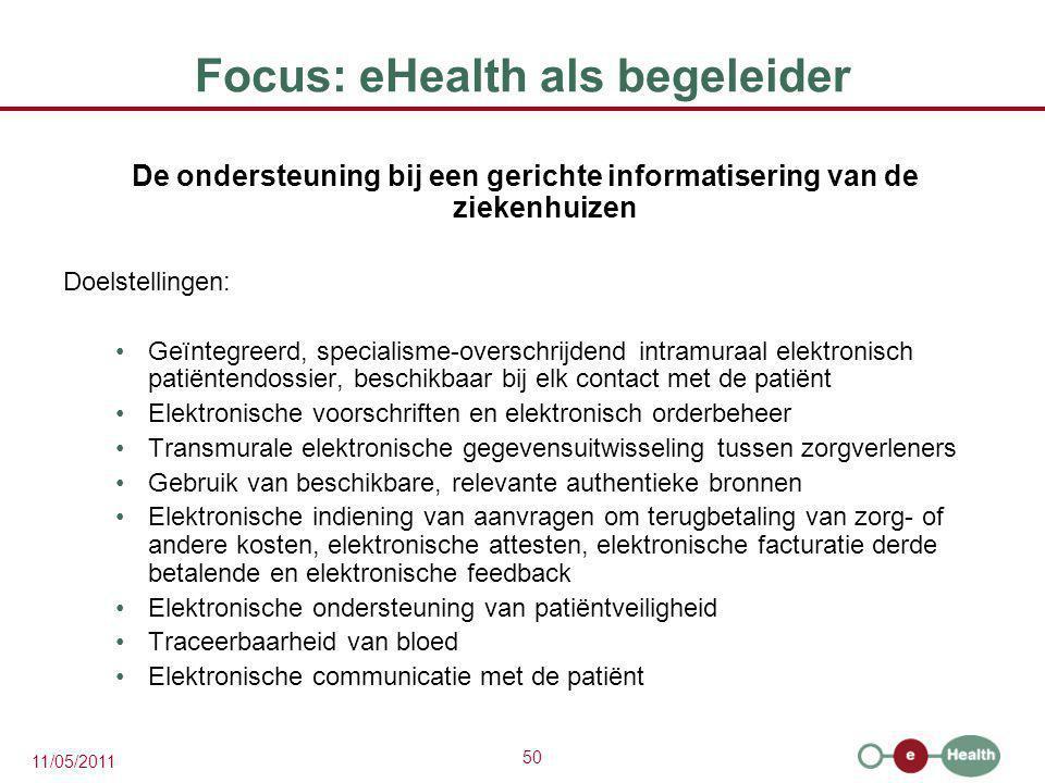 50 11/05/2011 Focus: eHealth als begeleider De ondersteuning bij een gerichte informatisering van de ziekenhuizen Doelstellingen: Geïntegreerd, specia
