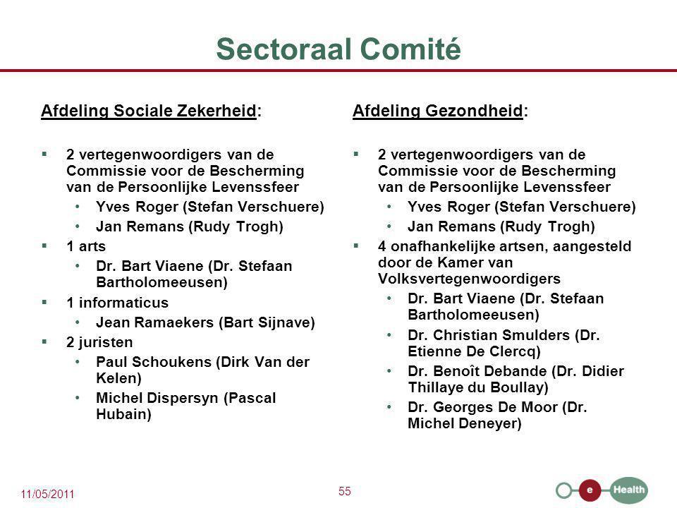 55 11/05/2011 Sectoraal Comité Afdeling Sociale Zekerheid:  2 vertegenwoordigers van de Commissie voor de Bescherming van de Persoonlijke Levenssfeer