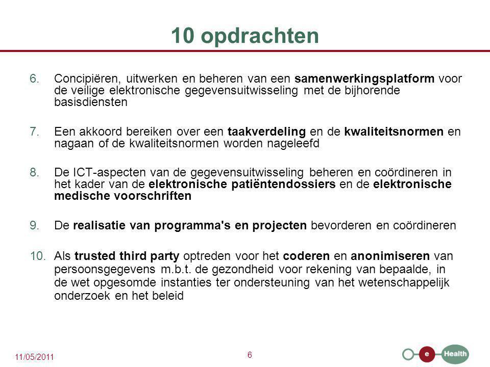 17 11/05/2011 10 opdrachten: stand van zaken 7.Een akkoord bereiken over een taakverdeling en de kwaliteitsnormen en nagaan of de kwaliteitsnormen worden nageleefd basisidentificatiegegevens = Rijksregister en KSZ-registers gegevensbank van zorgverleners en -instellingen en gezamenlijk beheerd door de FOD Volksgezondheid, het RIZIV, het FAGG en de Gemeenschappen, gehost door het eHealth-platform -fase 1: erkenningen, samenstelling, wetenschappelijke bijsluiters en terugbetalingsvoorwaarden -fase 2 (in bespreking): interacties tussen de actieve bestanddelen van farmaceutische specialiteiten enerzijds en interacties tussen de actieve bestanddelen van farmaceutische specialiteiten en kenmerken van patiënten anderzijds gegevensbank met de rechten van de patiënt in de ziekteverzekering beheerd en gehost door de ziekenfondsen gegevensbank m.b.t.