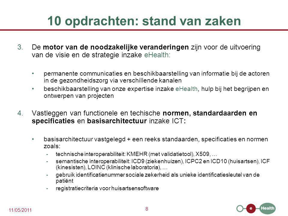 19 11/05/2011 10 opdrachten: stand van zaken 8.De ICT-aspecten van de gegevensuitwisseling beheren en coördineren in het kader van de elektronische patiëntendossiers en de elektronische medische voorschriften:  Elektronische patiëntendossiers: ontwikkeling van het verwijzingsrepertorium en van extramurale zorgkluizen analyse en harmonisatie van de technische en semantische interoperabiliteit analyse en ontwikkeling van een systeem van geïnformeerde toestemming implementatie van methoden inzake elektronisch bewijs van een therapeutische relatie tussen een zorgverlener en een patiënt voor andere zorgverleners en -instellingen dan artsen en ziekenhuizen  Elektronische voorschiften: Ziekenhuizen  elektronisch geneesmiddelenvoorschift operationeel  geleidelijke uitbreiding naar andere voorschriften en orders Ambulante sector  geneesmiddelenvoorschift in ontwikkeling  geleidelijke uitbreiding naar andere voorschriften en orders