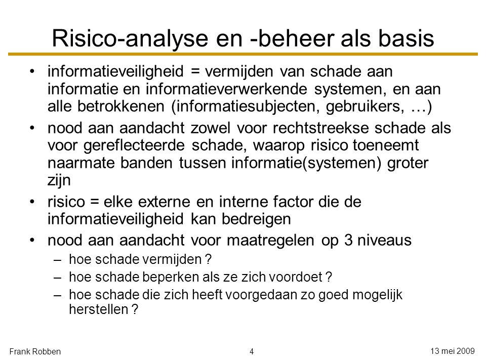 4 13 mei 2009 Frank Robben Risico-analyse en -beheer als basis informatieveiligheid = vermijden van schade aan informatie en informatieverwerkende sys