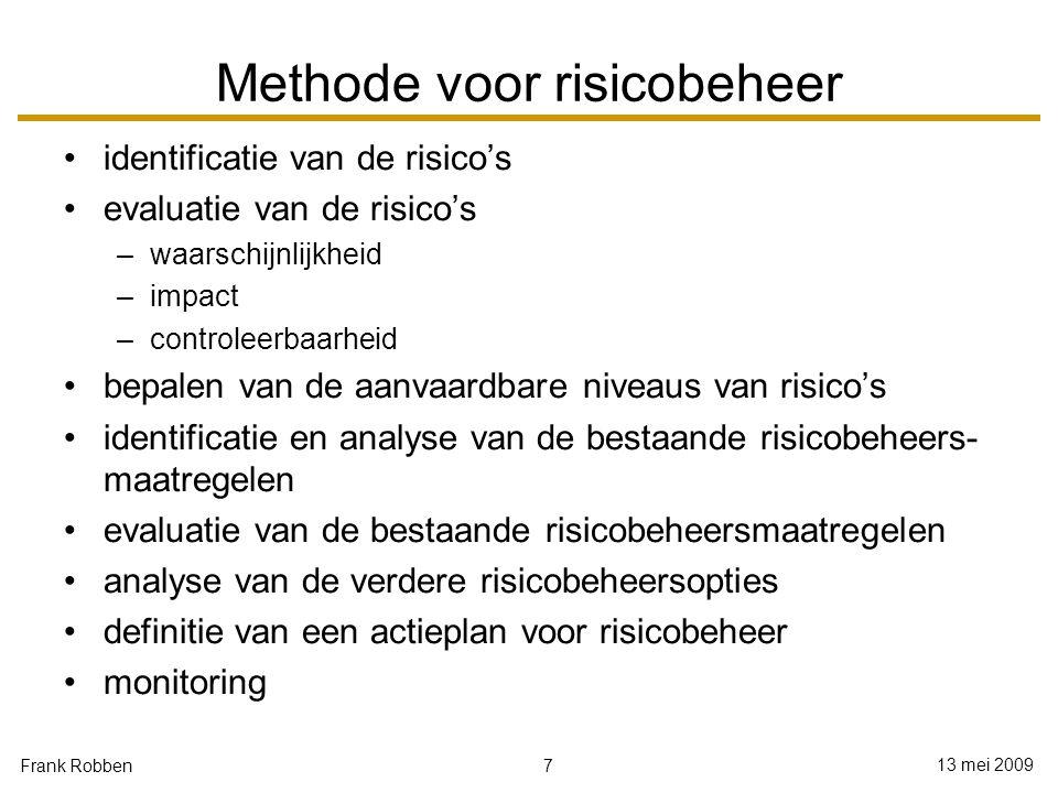 7 13 mei 2009 Frank Robben Methode voor risicobeheer identificatie van de risico's evaluatie van de risico's –waarschijnlijkheid –impact –controleerba