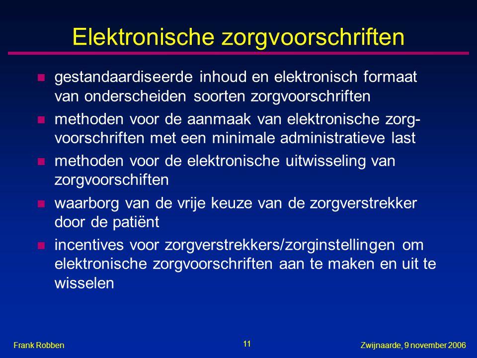 11 Zwijnaarde, 9 november 2006Frank Robben Elektronische zorgvoorschriften n gestandaardiseerde inhoud en elektronisch formaat van onderscheiden soort