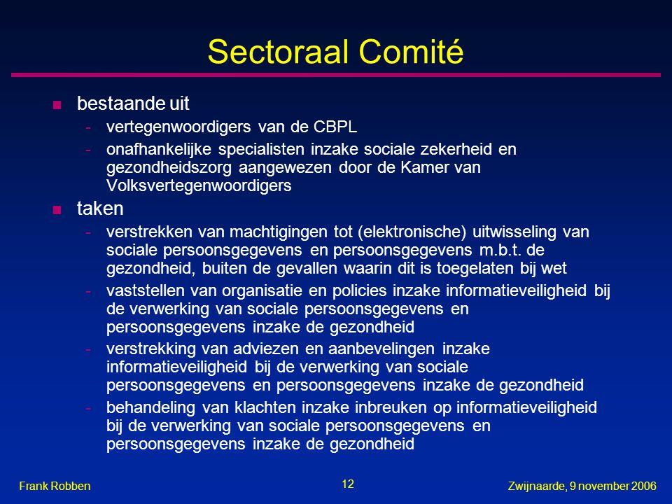 12 Zwijnaarde, 9 november 2006Frank Robben Sectoraal Comité n bestaande uit -vertegenwoordigers van de CBPL -onafhankelijke specialisten inzake social