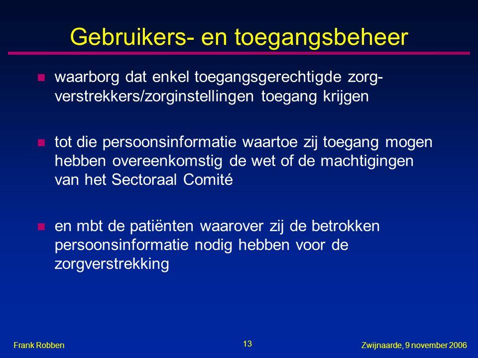 13 Zwijnaarde, 9 november 2006Frank Robben Gebruikers- en toegangsbeheer n waarborg dat enkel toegangsgerechtigde zorg- verstrekkers/zorginstellingen