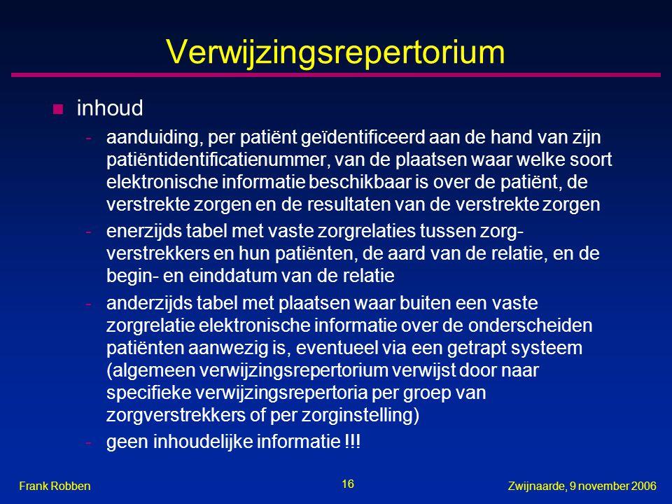 16 Zwijnaarde, 9 november 2006Frank Robben Verwijzingsrepertorium n inhoud -aanduiding, per patiënt geïdentificeerd aan de hand van zijn patiëntidenti