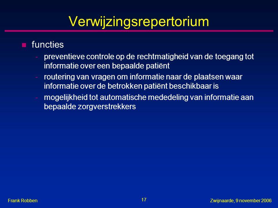 17 Zwijnaarde, 9 november 2006Frank Robben Verwijzingsrepertorium n functies -preventieve controle op de rechtmatigheid van de toegang tot informatie
