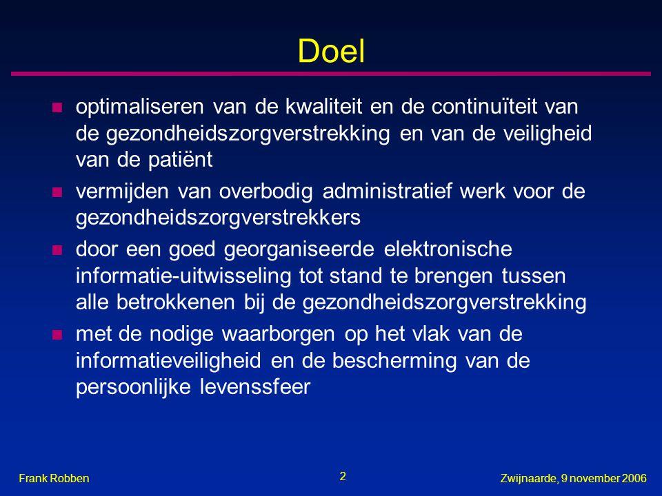 2 Zwijnaarde, 9 november 2006Frank Robben Doel n optimaliseren van de kwaliteit en de continuïteit van de gezondheidszorgverstrekking en van de veilig