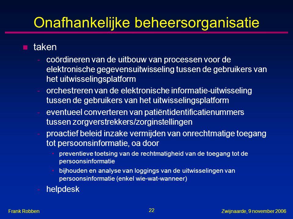 22 Zwijnaarde, 9 november 2006Frank Robben Onafhankelijke beheersorganisatie n taken -coördineren van de uitbouw van processen voor de elektronische g