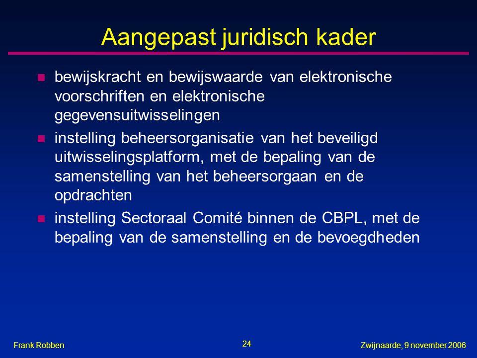 24 Zwijnaarde, 9 november 2006Frank Robben Aangepast juridisch kader n bewijskracht en bewijswaarde van elektronische voorschriften en elektronische g