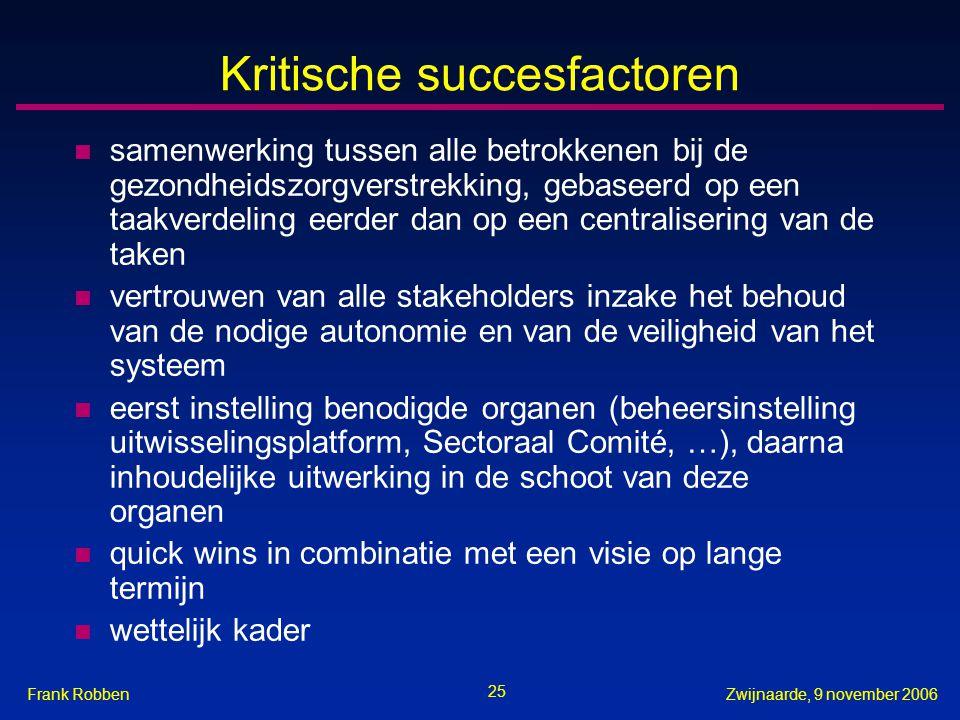 25 Zwijnaarde, 9 november 2006Frank Robben Kritische succesfactoren n samenwerking tussen alle betrokkenen bij de gezondheidszorgverstrekking, gebasee