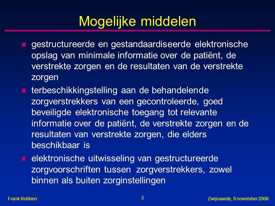 3 Zwijnaarde, 9 november 2006Frank Robben Mogelijke middelen n gestructureerde en gestandaardiseerde elektronische opslag van minimale informatie over