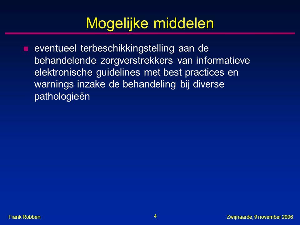 4 Zwijnaarde, 9 november 2006Frank Robben Mogelijke middelen n eventueel terbeschikkingstelling aan de behandelende zorgverstrekkers van informatieve