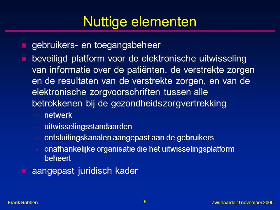 6 Zwijnaarde, 9 november 2006Frank Robben Nuttige elementen n gebruikers- en toegangsbeheer n beveiligd platform voor de elektronische uitwisseling va