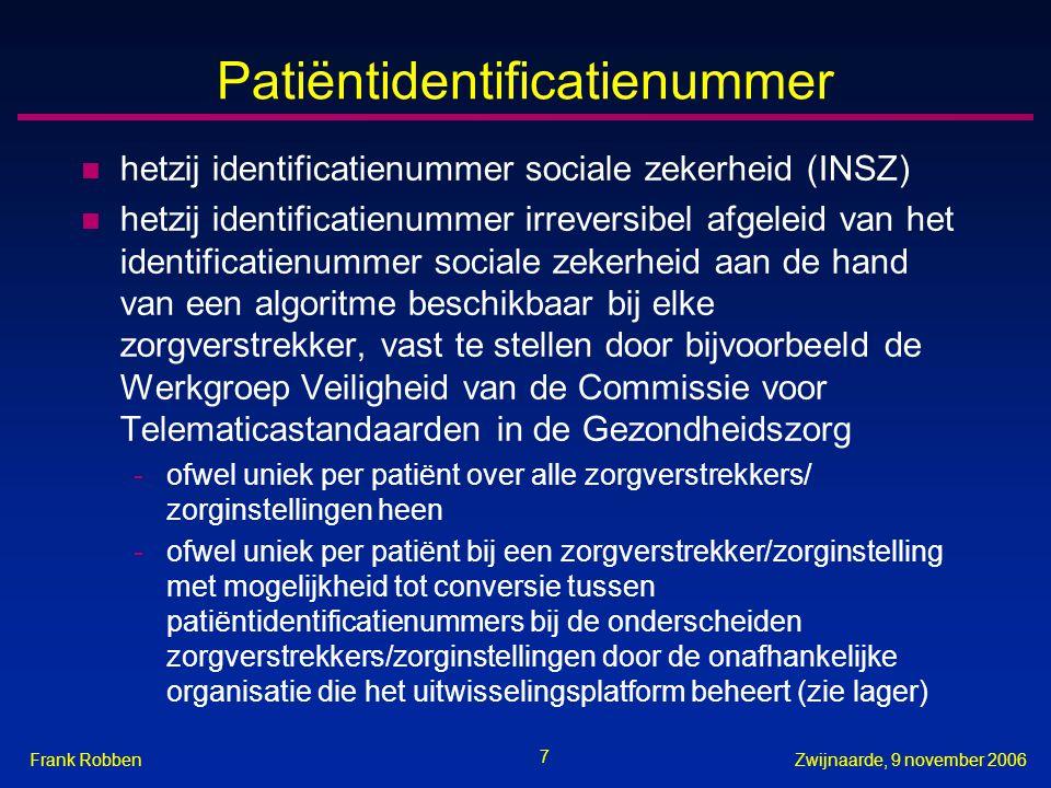 7 Zwijnaarde, 9 november 2006Frank Robben Patiëntidentificatienummer n hetzij identificatienummer sociale zekerheid (INSZ) n hetzij identificatienumme