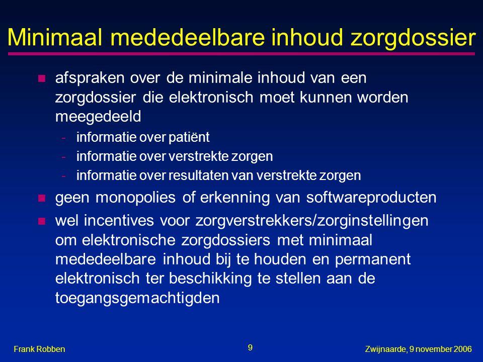 9 Zwijnaarde, 9 november 2006Frank Robben Minimaal mededeelbare inhoud zorgdossier n afspraken over de minimale inhoud van een zorgdossier die elektro